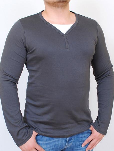 ROGER  футболка длинный рукав графит с белым
