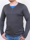 ROGER  футболка длинный рукав черный с ультрамарин