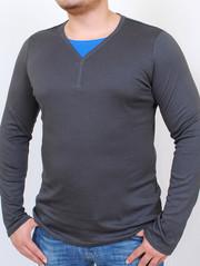 ROGER  футболка длинный рукав графит с ультрамарин