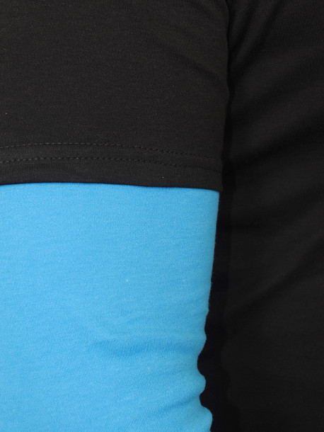 TED LONG  футболка длинный рукав черный-бирюза
