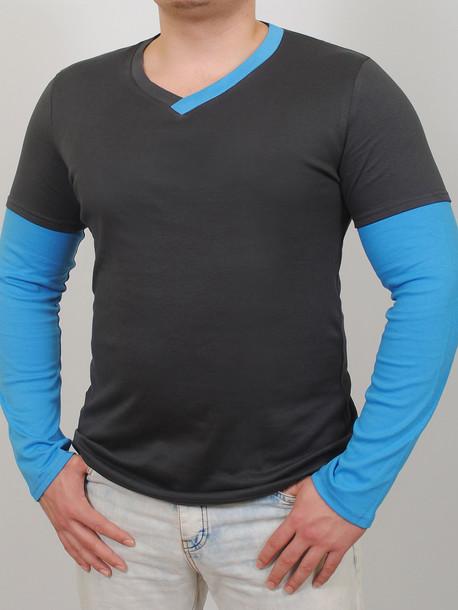 TED LONG  футболка длинный рукав графит-бирюза
