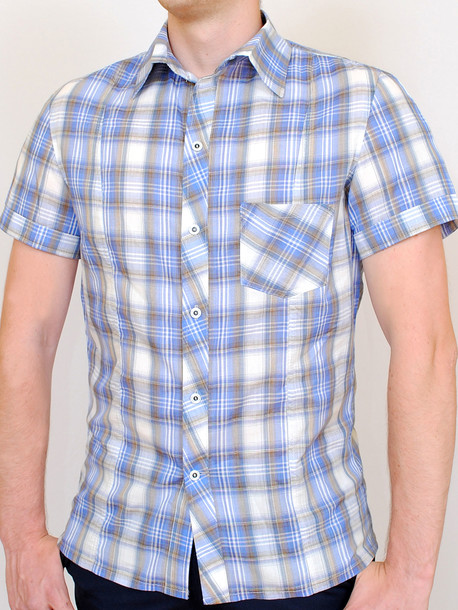 NEVADA рубашка клетка-индиго
