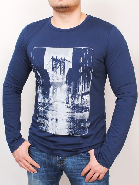 BROOKLYN LONG футболка длинный рукав синий