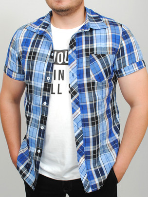 TEXAS рубашка синяя клетка