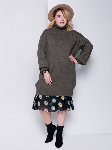 Ларни платье - свитер хаки