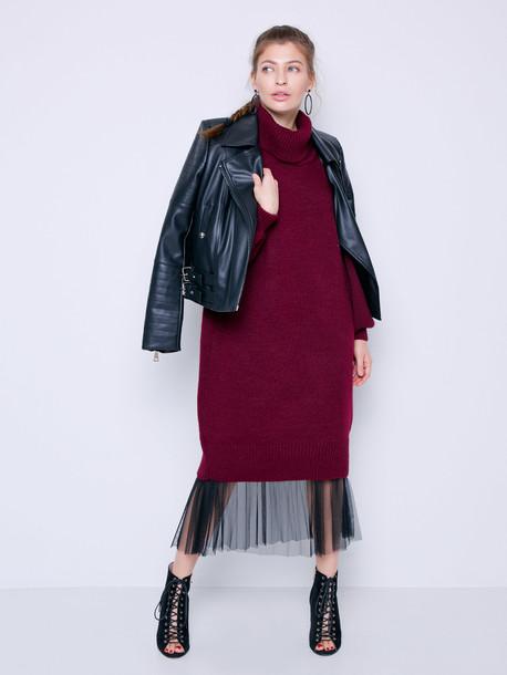 Ларни GRAND платье - свитер гранат