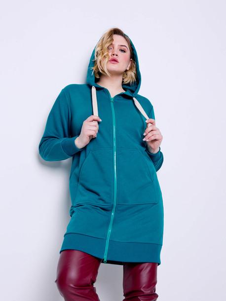 Мауро TRAND платье- худи аквамарин