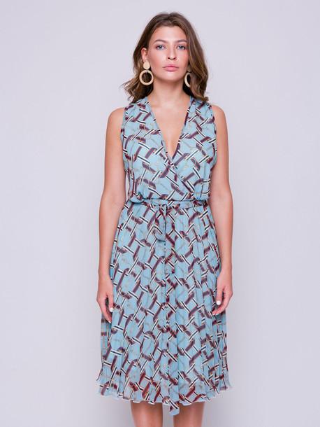 Киара принт платье сизый