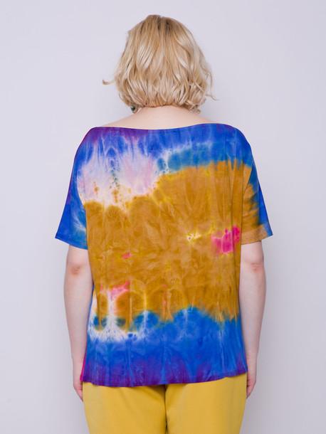 Флосси батик футболка охра