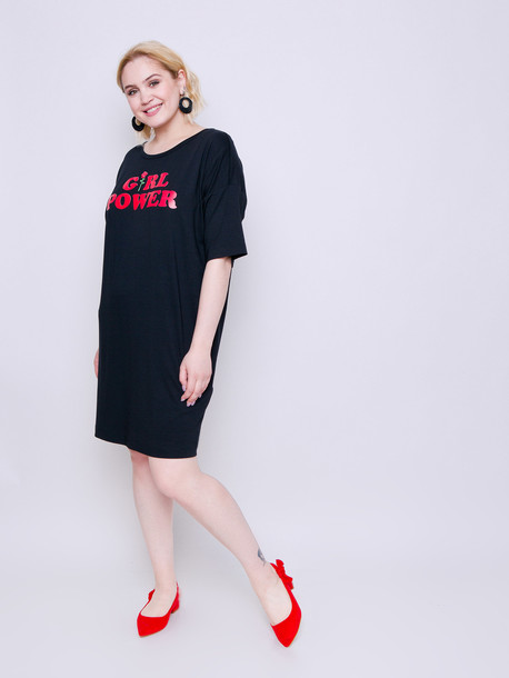Паллада 2019 платье - футболка оникс