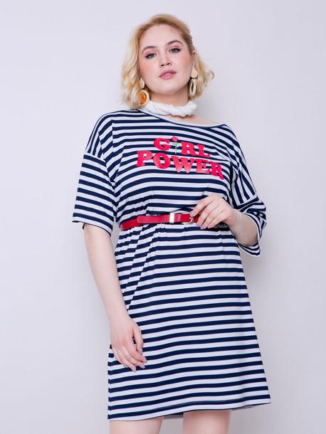 Паллада полоса платье - футболка синяя полоса