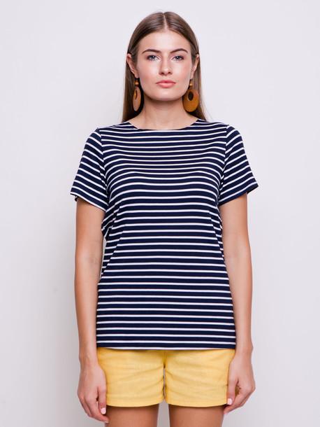 Тельняшка футболка синяя полоса средняя