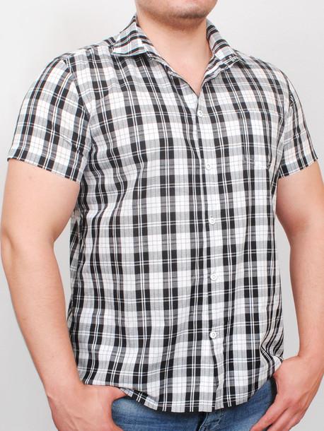 BIRMINGHAM  рубашка короткий рукав черная клетка