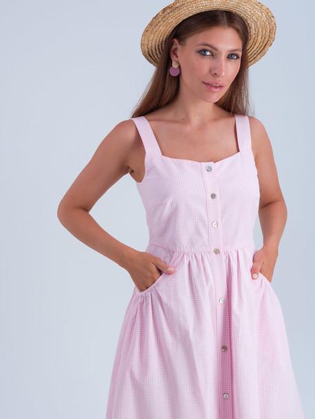 Грета принт сарафан розовый