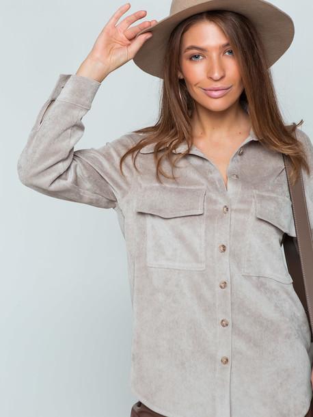 Оливия рубашка вельвет серо-бежевый