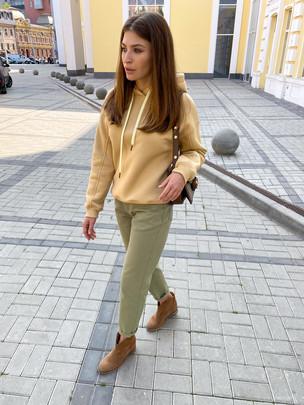 Беатрис джинсы удлиненные хаки