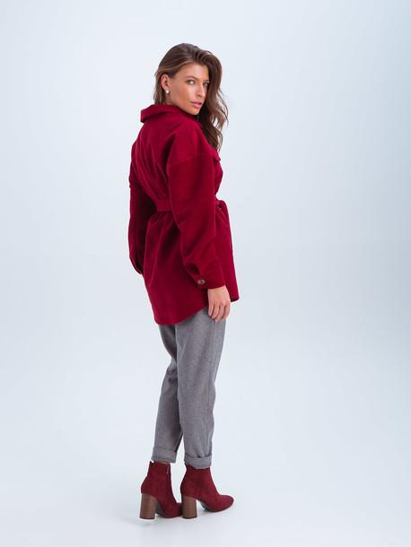 Крис удлиненное пальто- рубашка винный
