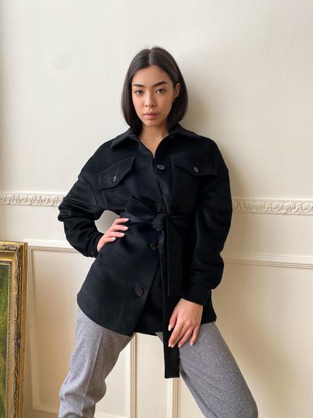 Крис GRAND удлиненное пальто- рубашка оникс