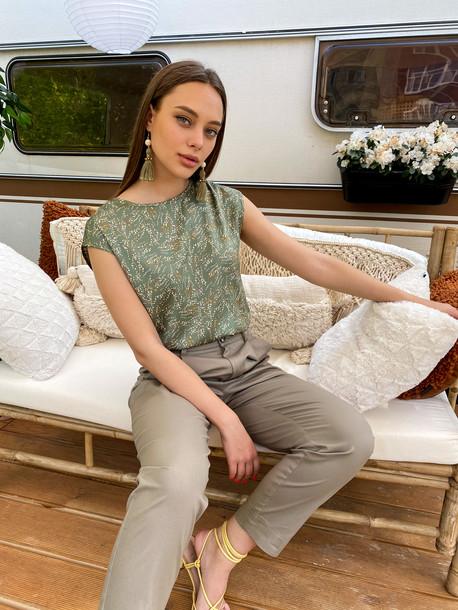 Ясмина GRAND блуза принт зеленый