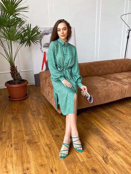 Мариетта платье-рубашка зеленый