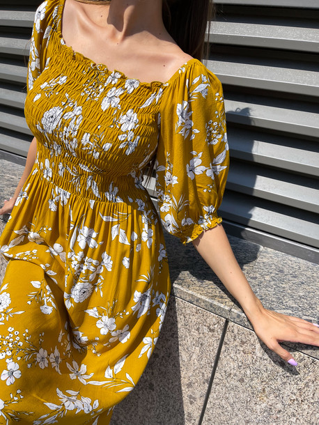 Авия GRAND штапель платье горчица