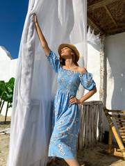 Авия GRAND штапель платье небесный