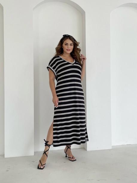 Алекса TRAND платье в полоску черная двойная полоса