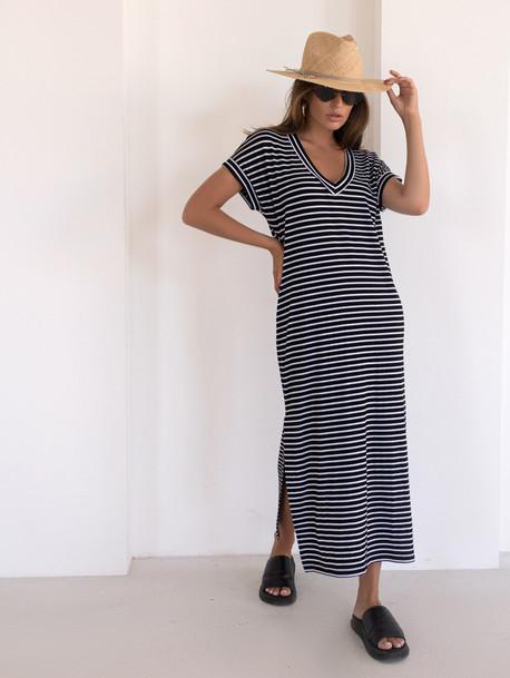 Алекса GRAND платье в полоску черная мелкая полоса