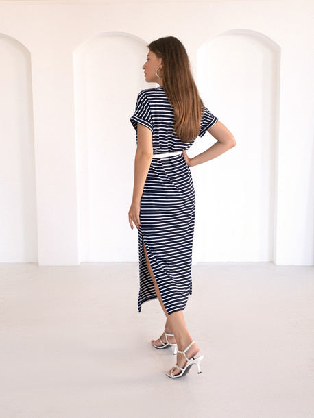 Алекса GRAND платье в полоску синяя мелкая полоса