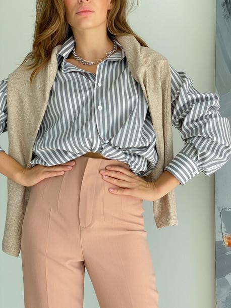 Бойфренд рубашка серый